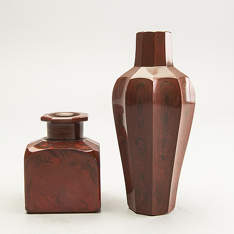 A set of two cast glass vases around 1900.