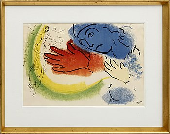 "MARC CHAGALL, lithographe with color, ""L'Ecuyère"", Sorlier, Paris 1956, signed in the print."