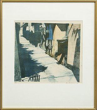 Ola Billgren, litografi, signerad och daterad -68,