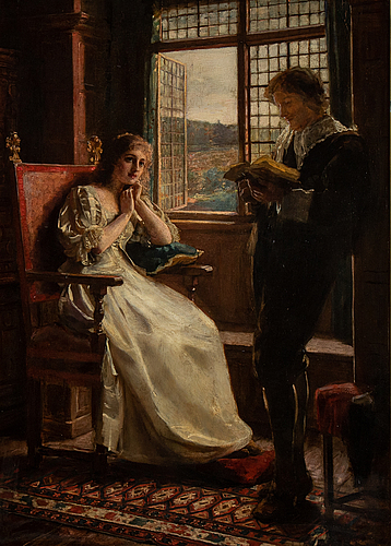 Margaret dicksee, attributed to., oil on panel.