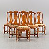 Six chairs, first half the 18th century.