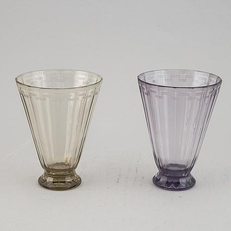 Two 1920/30s glass vases, design simon gate for orrefors.