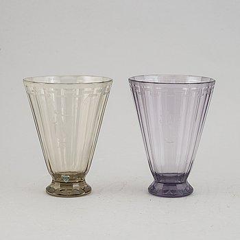 Simon Gate, vaser, 2 st, glas, Swedish Grace,  Orrefors, 1920/30-tal.