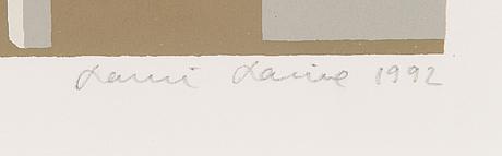 Lauri laine, serigrafi, signerad och daterad 1992, numrerad e.a. ix/xx.