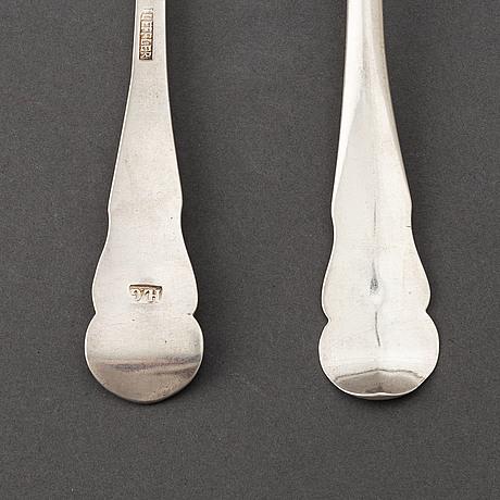 A set of six swedish 18th century silver dinner-spoons, mark of johan leffler, falun 1773.