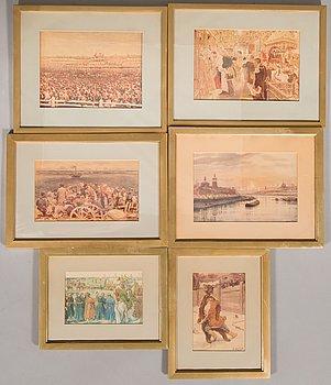 Prints in frames, 6 pc, 20th century, after paintings by V. Makowski, A. Benois, V. Vasnetsov och V. Serov.