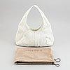 Bottega veneta, a white intrecciato leather hobo bag.
