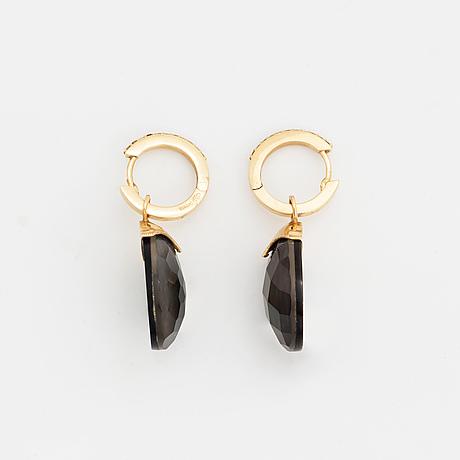Doublet stone and brilliant-cut diamond earrings.