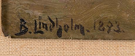 Berndt lindholm, öljy kankaalle, signeerattu ja päivätty 1893.