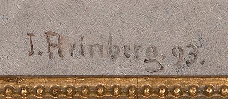 Johan jakob reinberg, olja på pannå, signerad och daterad-93.