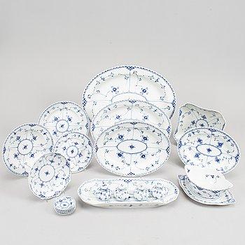 """A porcelain Royal Copenhagen half lace """"Musselmalet"""" service 51 pcs."""