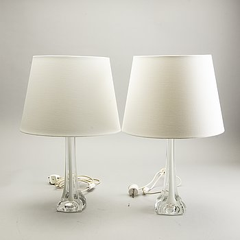 A pair of 1960/70s glass table lamps.