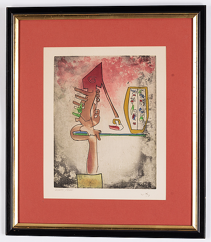 Roberto matta, etching, signed and numbered xxviii/xxx in pencil.