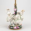 A porcelain table lamp, probably germany, early 20th century.