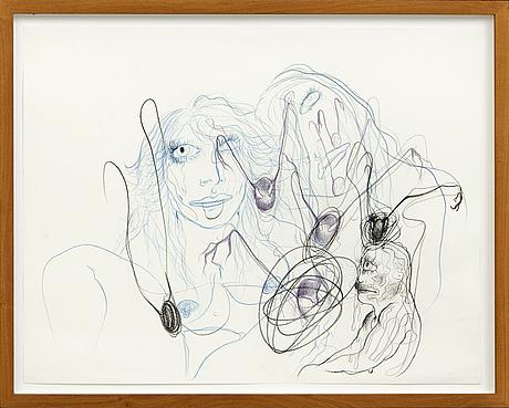 Bjarne melgaard, drawing, unsigned.