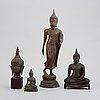 Buddhor, fyra stycken, patinerad metall. thailand, 1900-tal.
