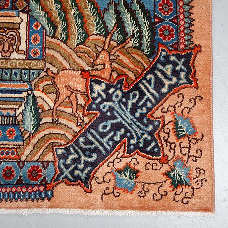 A carpet, kashmar figural, ca 389 x 290 cm.
