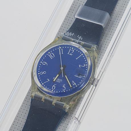 Swatch, blu-lui, wristwatch, 34 mm.