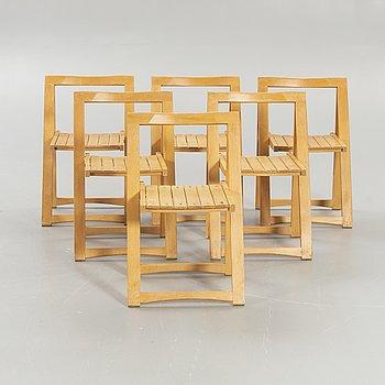 Aldo Jacober, 6 folding chairs for Bazzani, Italy 1970s.