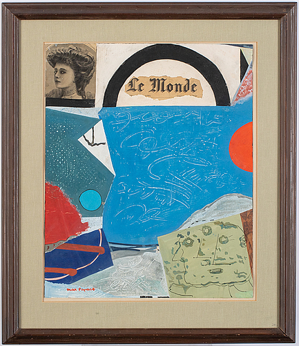 Max papart, mixed media with collage, signed max papart.