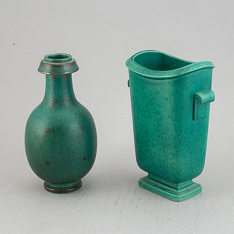 "Wilhelm kåge, two ""argenta"" stoneware vases, gustavsberg, sweden."