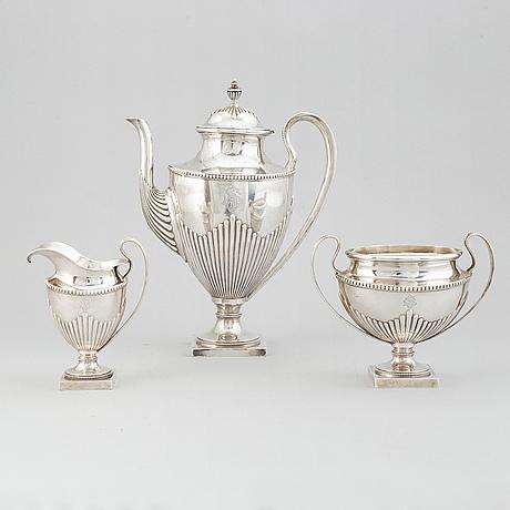 Kaffeservis, 3 delar, silver, gustaviansk stil, suomen kultasepät oy, åbo, finland 1917.