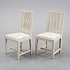 Six matched gustavian chairs, 18th and 19th century.
