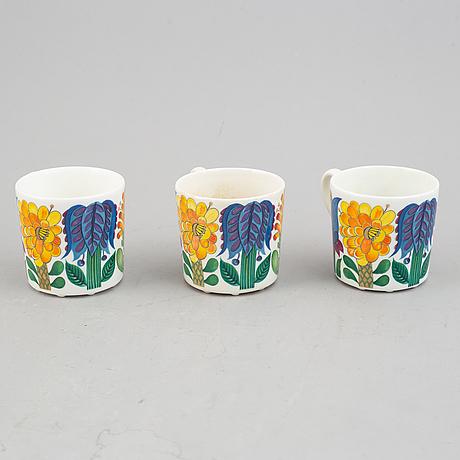 "Stig lindberg, three coffe cups with plates. ""tahiti"", gustavsberg."