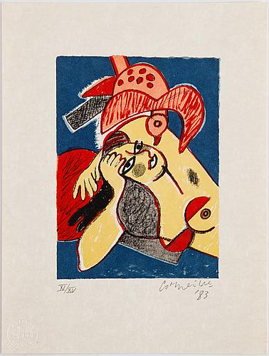 Beverloo corneille, mapp med 4 färglitografier på japanpapper, 1983, signerade xi/xv.
