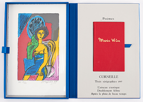 Beverloo corneille, portfolio with 3 silkscreens in colour, 1997, signed hc 14/15.