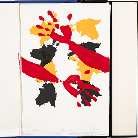 Raul meel, portfolio with 6 silkscreen in colour, 1989, signed 31/60.