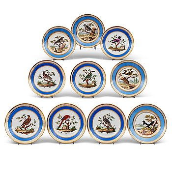 339. A set of 10 French ornitological dessert plates, signed Schoelber, 19th Century. (8+2).