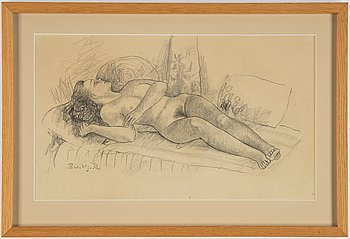 Bror Hjorth, drawing, signed.