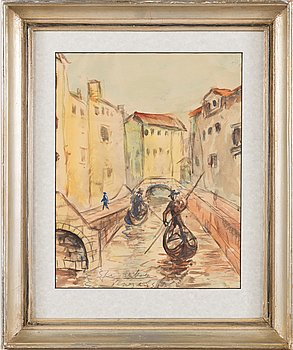 Armas Mikola, watercolour, signed and dated -54.
