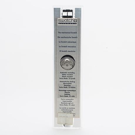 Swatch, automatic, black motion, wristwatch, 34 mm.