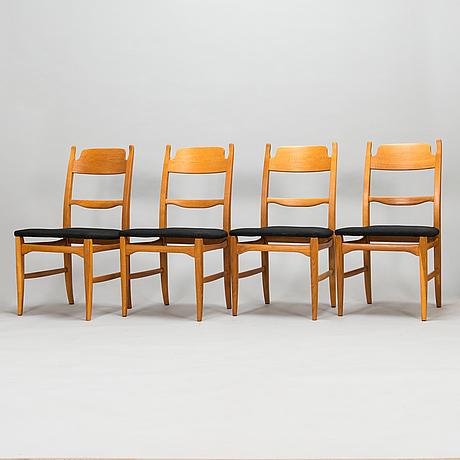 """Carl malmsten, stolar, 4 st, """"calmare nyckel"""" åfors möbelfabrisks ab 1900-talets mitt."""
