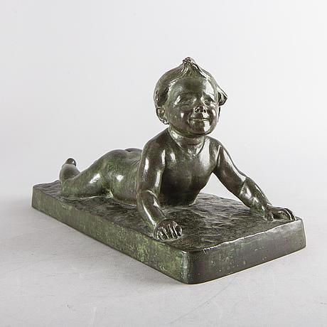 Hugo elmqvist, skulptur brons signerad.