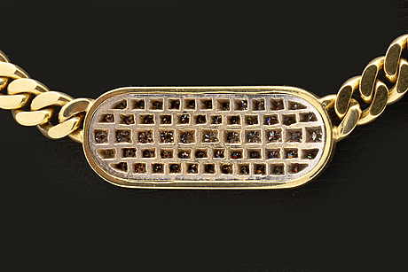Collier, 18k guld med briljanter och diamanter 8/8 ca 1 ct, total vikt 56,7 g.