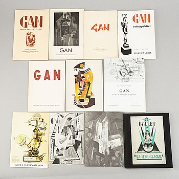 Exhibition catalogues (10) and a 50th year anniversary publication, Gösta Adrian-Nilsson (GAN).