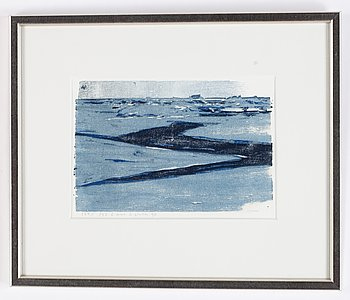 Lars Lerin, woodcut, 1990, signed and numbured 124/150.