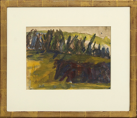 Staffan hallström, a signed and dated gouache.