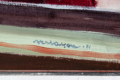 Axel olson, a signed and dated oil on board.