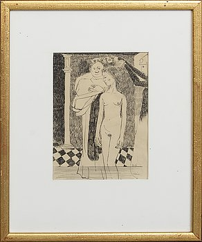 Birger Ljungquist, a signed ink drawing.