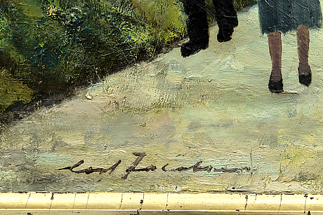 Cort jacobsen, a signed oil on canvas.