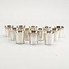 Supkoppar, 12 st, silver, bl a tore eldh, ceson och gab, 1960/70-tal.