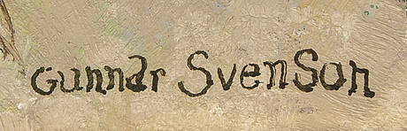 Gunnar svenson, a signed oil on canvas.