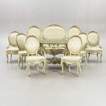 An eight pcs Louis XV-style saloon group later part of the 19th century.