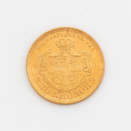 Oscar ii, guldmynt, 20 kr, 1886, typ iii.