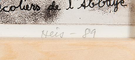 Outi heiskanen, litografi, signerad och daterad -89, numrerad 101/140.