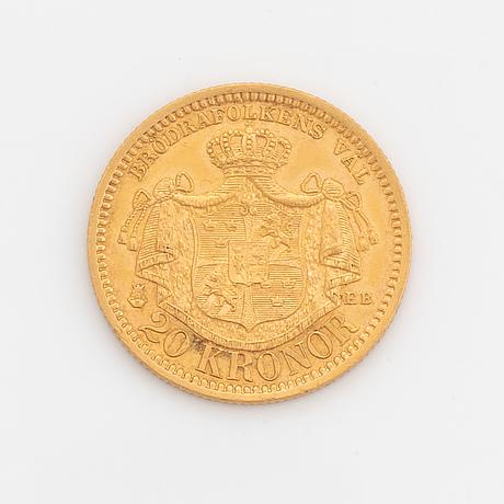 Oscar ii, guldmynt, 20kr, 1887, typ iii.